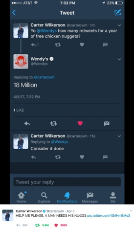Wendy's challenges Carter Wilkerson to 18 million retweets in exchange for a year of free chicken nuggets