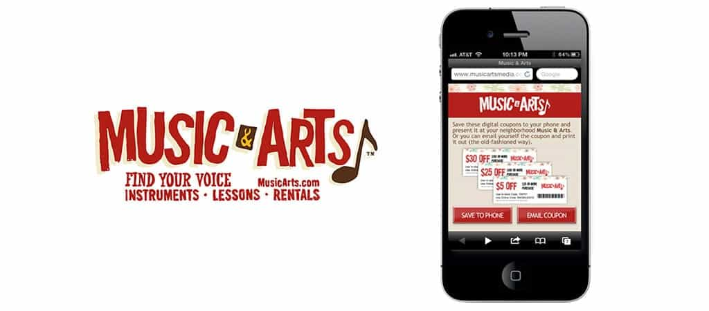 Digital coupons for users nearby the Music & Arts store locations during the holiday