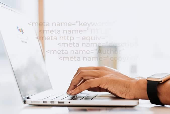 a person typing on her laptop keyboard, researching on Google page