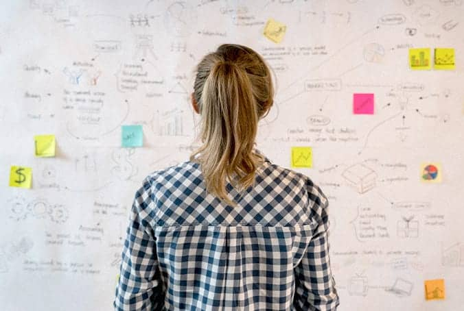 woman looking at a white board with intricate planning