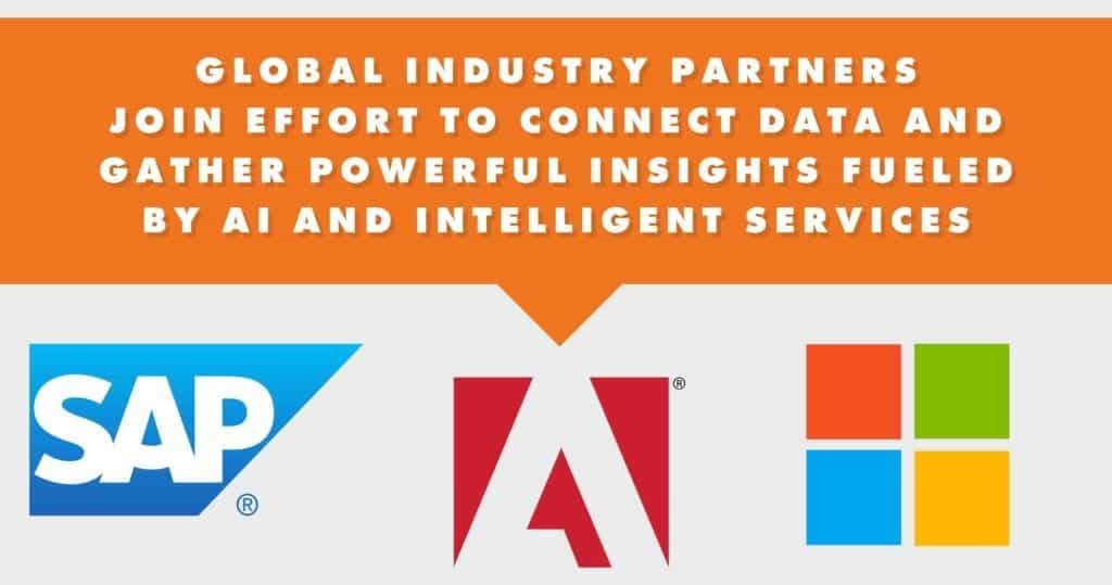 a banner about global industry partners with SAP, Adobe and Microsoft logo